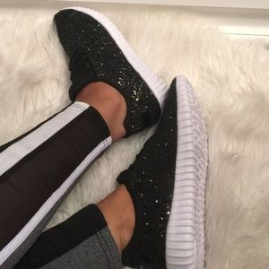 Shoes - Black Glitter Sneakers